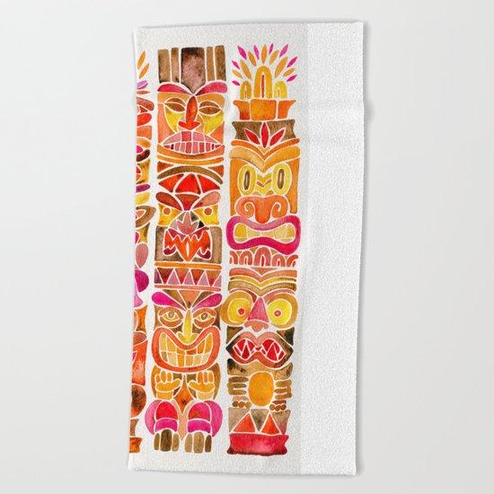 Tiki Totems – Fiery Palette Beach Towel