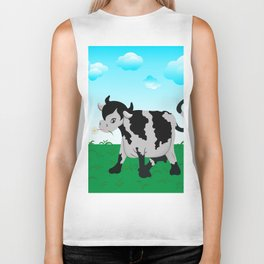 Cow on a meadow Biker Tank