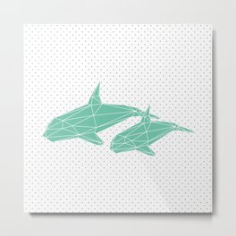 Iced Green Whale Metal Print