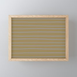 Grey and Brown Minimal Stripe Pattern Ultimate Gray 17-5104 & Fennel Seed Framed Mini Art Print