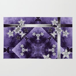 Silver flowers on purple and black textured mandala Rug