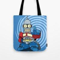 bender Tote Bags featuring Optimus Bender by darko888