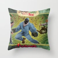 robin hood Throw Pillows featuring DRACULA VS. ROBIN HOOD VS. JEKYLL & HYDE! by Eco Comics