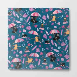 Monkeys in Rain Boots | Pink and Teal Metal Print
