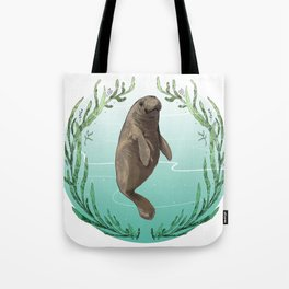West Indian Manatee in Eel Grass Wreath Tote Bag