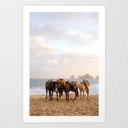 Horses on the beach Art Print