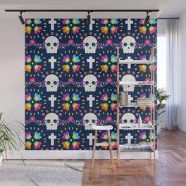 Latin Dios De Los Muertos Neon Sugar Skull and Cross Pattern Wall Mural