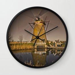 Dutch windmill in motion at Kinderdijk Wall Clock