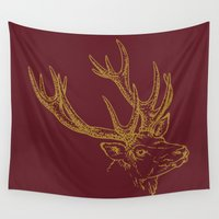 burgundy Wall Tapestries featuring Deer Burgundy Gold by Beautiful Homes