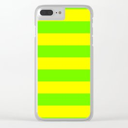 Bright Neon Green and Yellow Horizontal Cabana Tent Stripes Clear iPhone Case