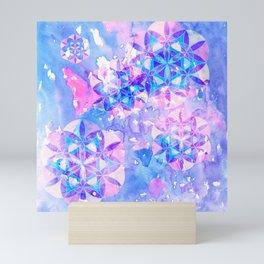 Flower-of-Life Paint Pattern Blue Mini Art Print