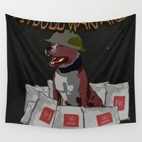 pitbull Wall Tapestries featuring Pitbull Warfare by dr.Mador