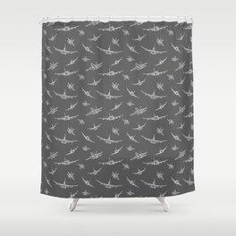 Airplanes on Dark Grey Shower Curtain