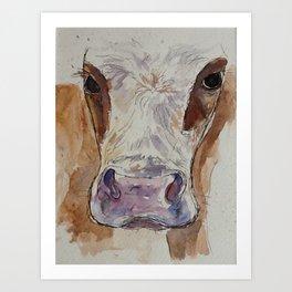 Ayrshire cow painting Art Print