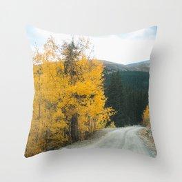 Yellow Leaf Road - Colorado Aspen Throw Pillow