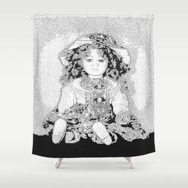 Lovely Doll Illustrtion Black and White Shower Curtain