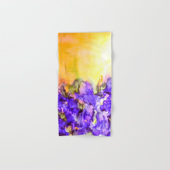 INTO ETERNITY, YELLOW AND LAVENDER PURPLE Colorful Watercolor Painting Abstract Art Floral Landscape Hand & Bath Towel