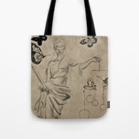 justice Tote Bags featuring Justice by Maithili Jha