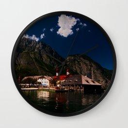 Germany, St. Bartholomew's Church, Alps, MountainsKoenigssee Lake Wall Clock