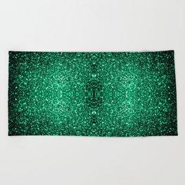 Beautiful Emerald Green glitter sparkles Beach Towel