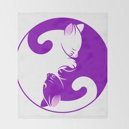 cat yin yang kitten symbol purple Throw Blanket