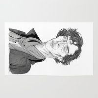benedict Area & Throw Rugs featuring Benedict Cumberbatch - Sherlock by Andy Christofi