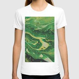 Green Mountain Stream - Forest Scene Abstract Art T-shirt