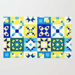 Moroccan tiles pattern with blue and yellow no4 Rug