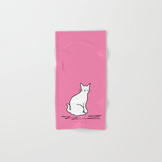 white cat on pink Hand & Bath Towel
