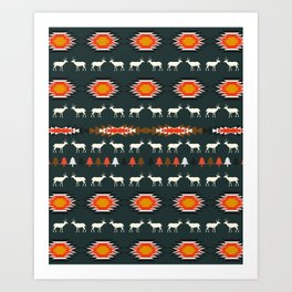 Ethnic deer pattern with Christmas trees Art Print