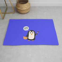 Construction worker Penguin   Rug