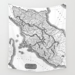 Vintage Map of Tuscany Italy (1814) BW Wall Tapestry