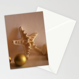 Sea Shells and Sea Star with Golden Christmas Balls Stationery Cards