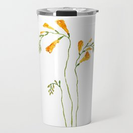 orange freesia watercolor Travel Mug