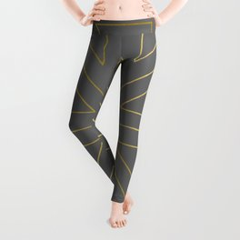 Angled 2 Gold & Grey Leggings