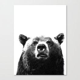 Black and white bear portrait Canvas Print