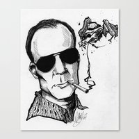 hunter s thompson Canvas Prints featuring Hunter S. Thompson by Simone Bellenoit : Art & Illustration