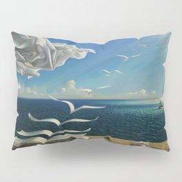 Paper Birds surreal literary seaside nautical portrait painting  Pillow Sham