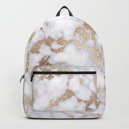Modern Chic White Gold Foil Marble Pattern Backpack