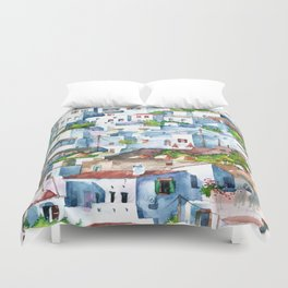 Panorama of Lindos Duvet Cover