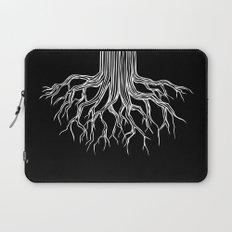 Tree Root Drawing (white on black) Laptop Sleeve