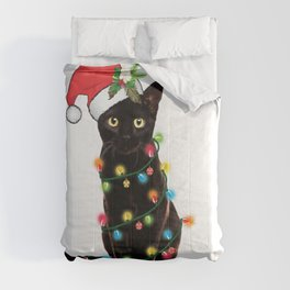 Santa Black Cat Tangled Up In Lights Christmas Santa Graphic Comforters