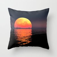 moonrise Throw Pillows featuring Moonrise by Tobias Bowman