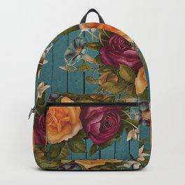 Vintage green wood coral burgundy roses floral Backpack
