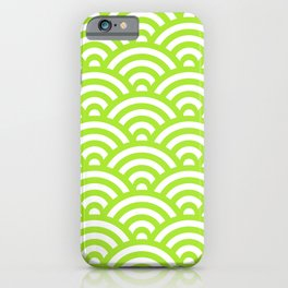Lime Green Japanese Waves Pattern iPhone Case