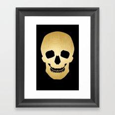 Gold Skull on black Framed Art Print