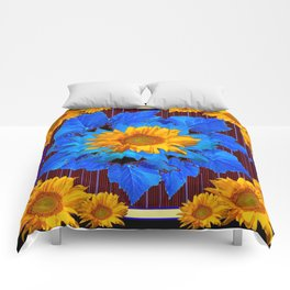Decorative Sunflower Patterns Blue Leaves Comforters