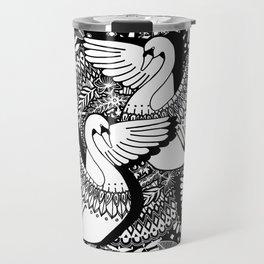 Stylish Swans in Monochrome Black and White Travel Mug