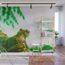 Green frog on branch Wall Mural