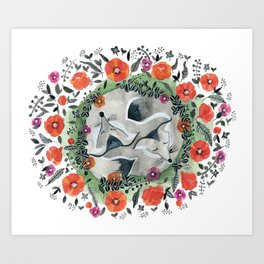 Foxes and Poppies Art Print